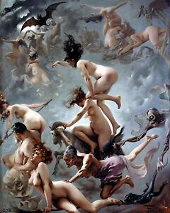 FALERO Art Print DEPARTURE Nude Woman Man Gothic Wicca Magic Skull Bat Full Moon