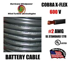 #2 Awg Cobra X-Flex Battery Cable Ul Listed Black 600V Sold Per Foot
