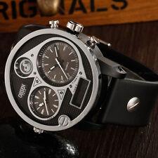 OHSEN Mens Aviator Style XXXL Case Date Light Black Sport Quartz Wrist Watch New