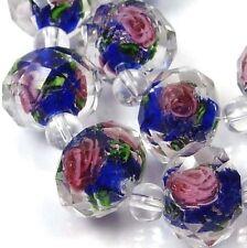 14 Czech Glass Faceted Rondelle Beads - Cobalt Blue Encased Rose Flower 12x8mm