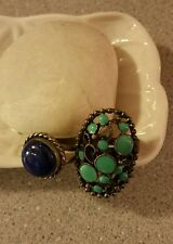 2 Rings,Lapis Lazuli Silver Sz7, Turquoise Enamel in Burnished Copper /Silver