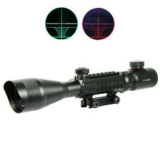 Tactical 4-12X50EG Rifle Scope Red Green Dual illuminated w/ Side Rails & Mount