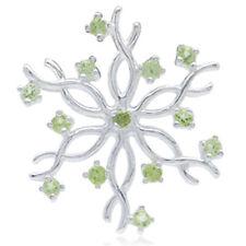 Peridot Snowflake Design Christmas Sterling Silver Pendant + Chain