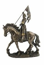 11 Inch Joan of Arc on Horse w/ Flag Catholic Saint Statue Figurine France