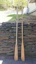 "VERY INTERESTING OLD Blond Wood Oars 75"" Long Paddles with Oarlocks"