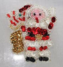 Christmas tiny santa w/ pack Sequin Applique , Pressure Sensitive glue