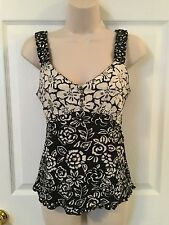 NEW Nomadic Traders Sz Small Sleeveless Empire Waist Top Black White Rayon NWOT