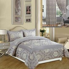 3pcs Luxury Bedspread Jacquard Quilted Bed Spread Comforter Set Pillow Covers Grey King