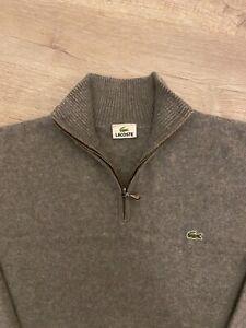 100% Genuine XL Lacoste 1/4 Zip Grey Jumper / Sweater XL Lacoste size 7