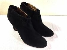 Sam Edelman womens black suede ankle boots heel slip on size 10 M Nice!!