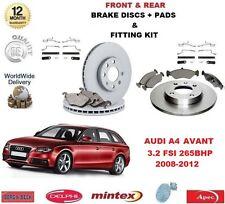 FOR AUDI A4 AVANT 3.2 FSI 265 BHP FRONT & REAR BRAKE DISCS & PADS + FITTING KIT