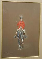 Charles DETAILLE Tableau GOUACHE sur Papier Circa 1870 Signe CAVALIER Cheval Art