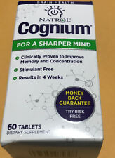 Natrol Cognium for a Sharper Mind Stimulant Free  60 Tablets Exp 7/2021