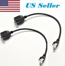 2 PCs 1FT RJ45 Male to Female Screw Panel Mount Ethernet Cable LAN Network PO