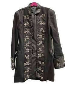 Black Pirate Long Jacket Steam Punk Gothic Halloween Prop Fancy-dress Size M