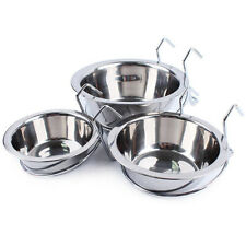 Stainless Steel Hang-on Bowls Metal Cat Dog Crate Cage Food Water Hanger Bowl