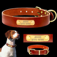 Leather Personalized Dog Collar with Name ID Tags Engraved for Small Medium Dogs