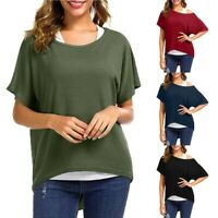 Women's Casual Plus Size Baggy Blouse Fitting Shirts Loose Batwing Sleeve Tops