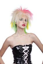 Multi Coloured Blonde Spikey Wig Punk Rocker Fancy Dress