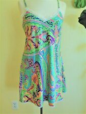 Ralph Lauren Paisley Babydoll Nightgown Lace Trim Lime Green Pink Womens M