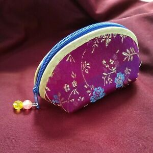 Oriental Small Satin Coin Purse Beaded Zipped with Beads 11cms Purple