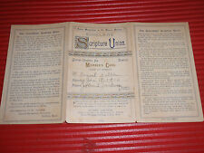 ANTIQUE MEMBER'S CARD SCHOOLBOYS' SCRIPTURE UNION JR. BROHOOD ST. ANDREW 1910