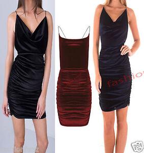 Womens Ladies Velvet Velour Strappy Cross Back Mini Bodycon Party Dress 8-14