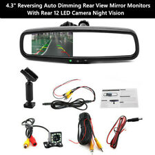 "4.3"" Metal Reversing Rear View Mirror Monitors W/Rear LED Camera Night Vision"