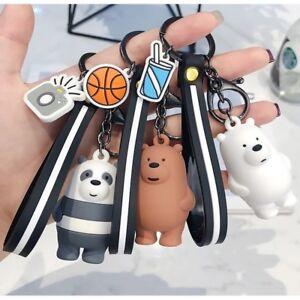 We Three Bare Bears Cartoon Keyring Keychain Bag Accessory Wristband Pendant