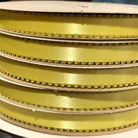 "Yellow Maize Satin Picot Ribbon  3 / 8"" x 50 yards Bulk Craft Made in USA"