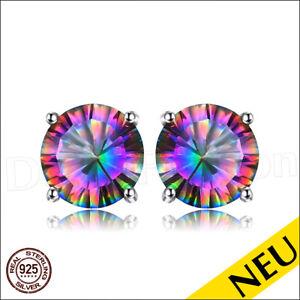 NEU 🌸 Echt Mystic TOPAS Ohrstecker 925 Sterling Silber RUND Regenbogen 🌸 Luxus