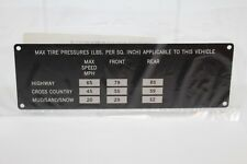 Tire Data CATI ISS 21F/23R Label, Max Tire Pressures, Highway, Cross County, New