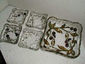 Antique EAPG Gold red paint pressed cherry relief square Berry Bowl Set dessert