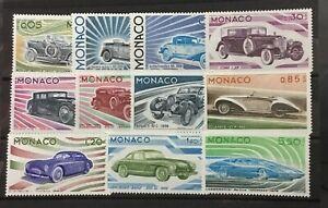 MONACO # 980-990. DEVELOPMENT OF THE AUTOMOBILE. MNH