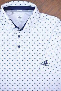Adidas Golf Performance Polo Shirt White Blue Logo Print Men's Medium M