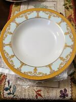 "Palate & Plate Fine Porcelain Gold Aqua Scroll (Qty. 3) Soup Plates 8.5"""