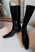 BLACK PATENT LEATHER BOOTS-WOODEN 2 INCH HEEL-AMAZING CONDITION-SIZE 37 B W