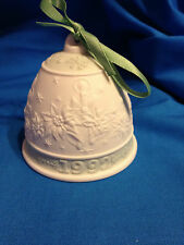 1992 Lladro Bisque Christmas Bell with Box and Green Ribbon