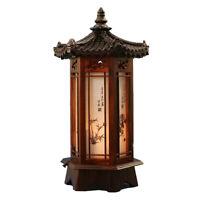 Lampe en bois sculpté hexagonale lanterne marron art déco table chevet lumière
