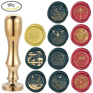 1 Pc Wax Sealing Stamps Mixed Shapes with 25mm Removable Brass Head Metal Handle