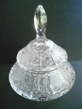 VINTAGE LIDDED HEAVY CHRYSTAL CANDY DISH