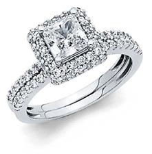 3 Ct Princess Cut Real 14K White Gold Engagement Wedding Ring Set Matching Band