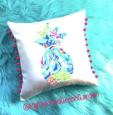 NEW Pineapple pillow made with LILLY PULITZER Mermaid Cove fabric