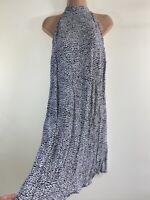 NEXT black white monochrome cheetah animal print neck tie dress size 10 euro 38