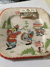 Lot of 8 Unused Hanna Barbera Happy Birthday Paper Plates YOGI BEAR 1962. New