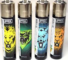 4 x Clipper ANIMALS SNAKE WOLF TIGER Lighters Set Refillable Flint Regular Size
