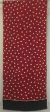 TERRIART Dark Red, Navy, White Polka Dots SILK 52x11 Long Scarf-Vintage - Old!