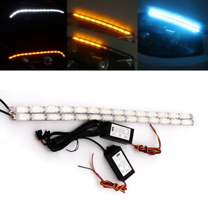 2Pcs White/Amber Car Flowing DRL LED Knight Rider Light Strip Tube Turn Signal