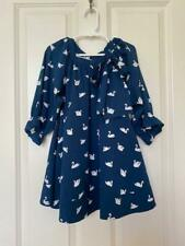 How To Kiss A Frog Stockholm Long Sleeve Dress Swans Navy Girls Size 4