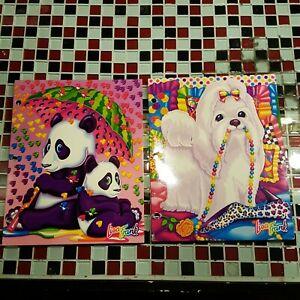 Lot of 2 ~ Vtg Lisa Frank Folders Set of 2 Panda Bears and Dog